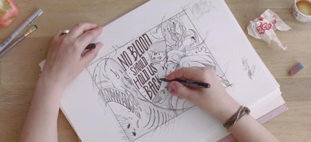 Dibujo con texto en el anuncio dirigido por Daniel Wolfe