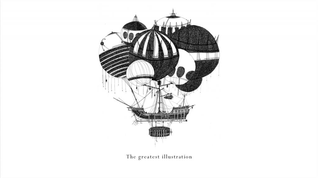 Barco con globos, ilustracion de Temujin Doran