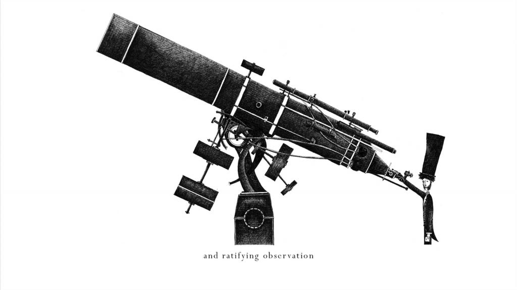 Un telescopio, ilustracion de Temujin Doran