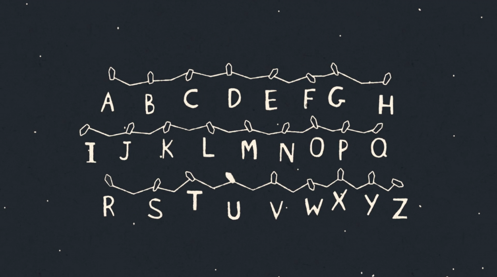 Luces de navidad en la animacion sobre Stranger Things de Creative Mammals