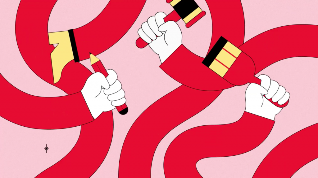 Ilustracion del video de The Canadian Experiment de Polyester Studio