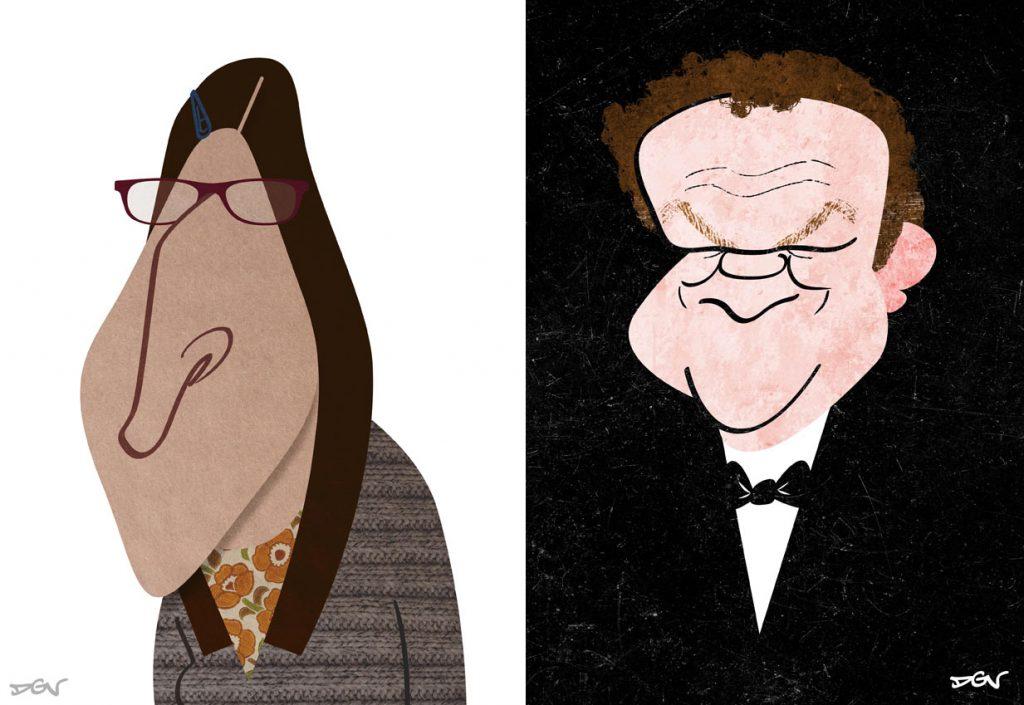 Dos caricaturas de personajes por DVG