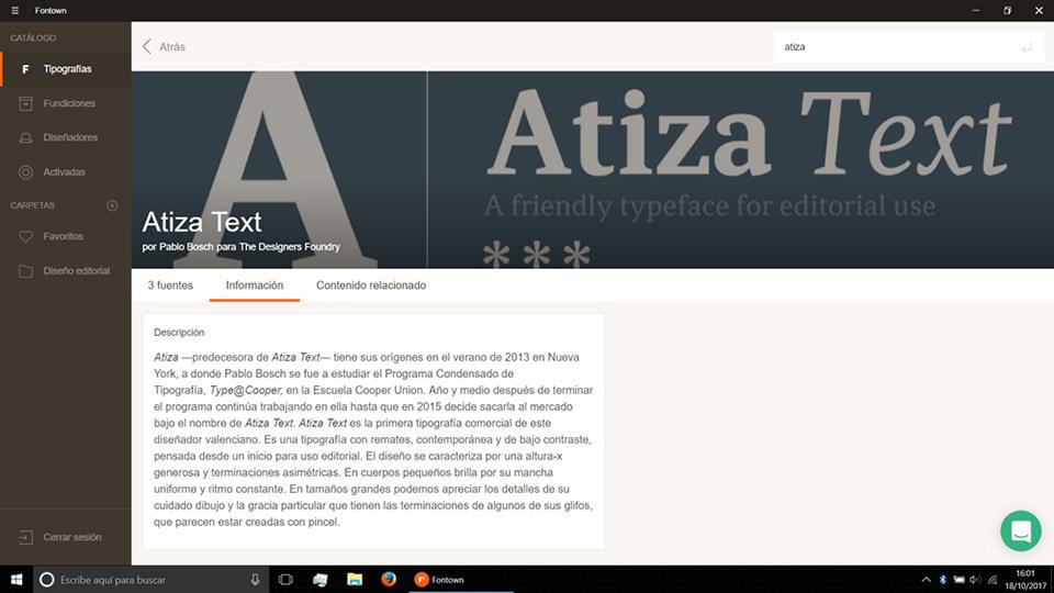 Fontown Windows Atiza Tipo