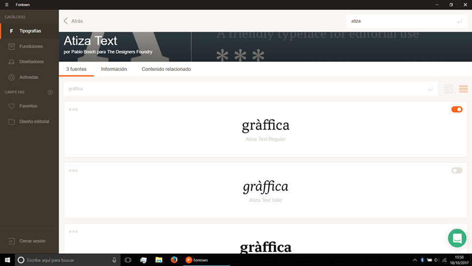 Fontown Windows probando tipos graffica
