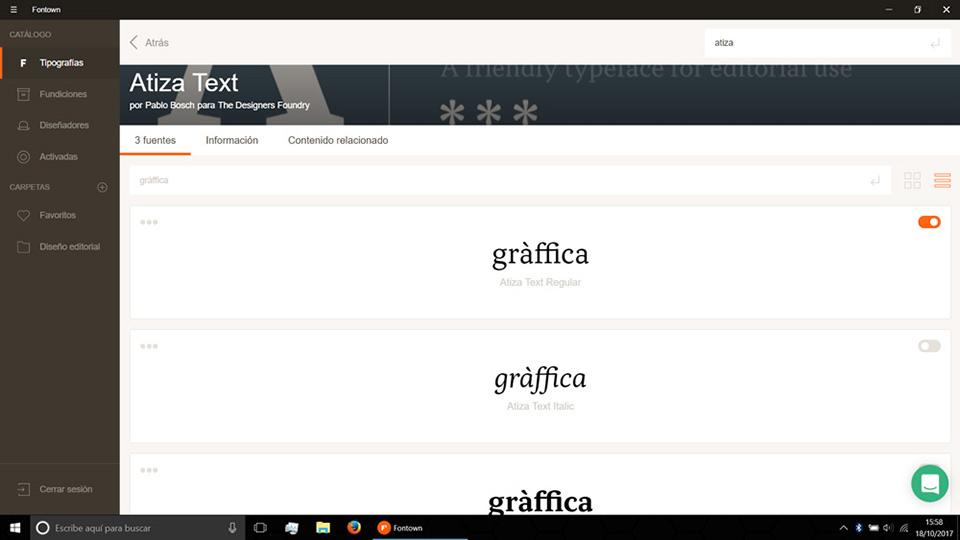 Fontown Windows probando tipos graffica