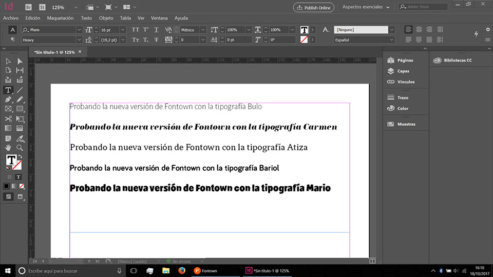 Fontown Windows InDesign Prueba