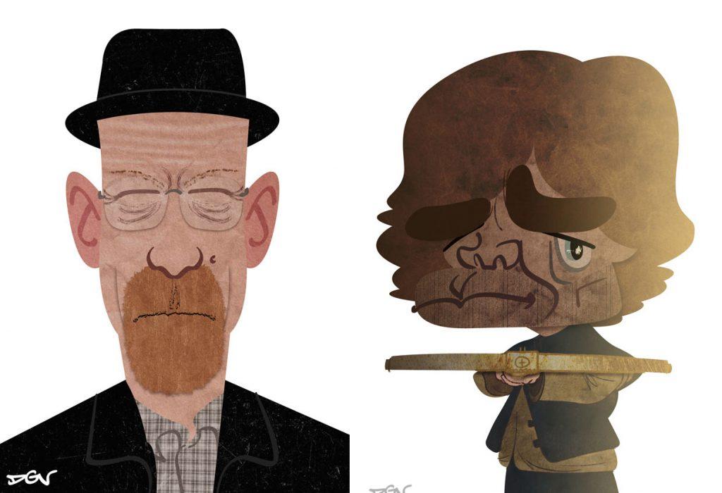 Caricaturas de personajes de series, por DGV