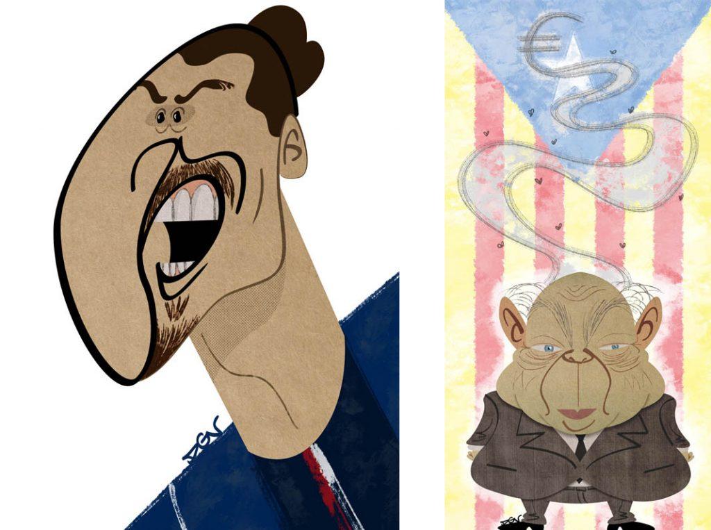 Caricaturas de un futbolista y un politico, por DGV