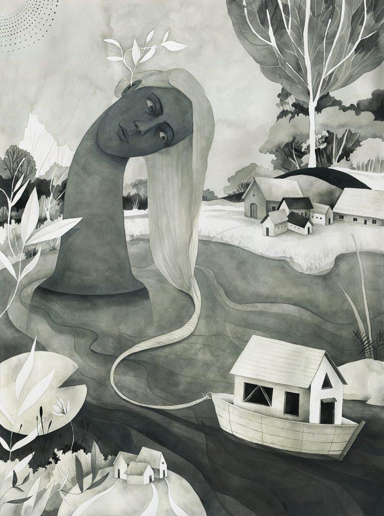'Migrar es fluir', ilustracion de Luisa Rivera