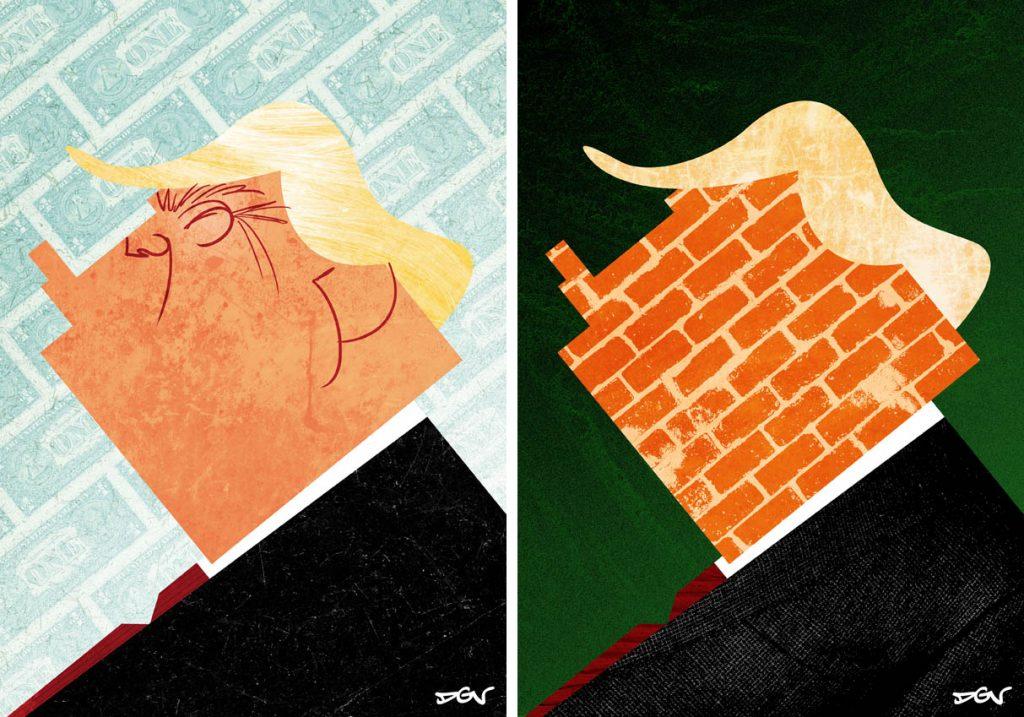 Caricatura de Donald Trump hecha por DVG