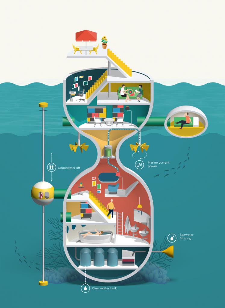 Utopia Dwelling, ilustracion de Jing Zhang