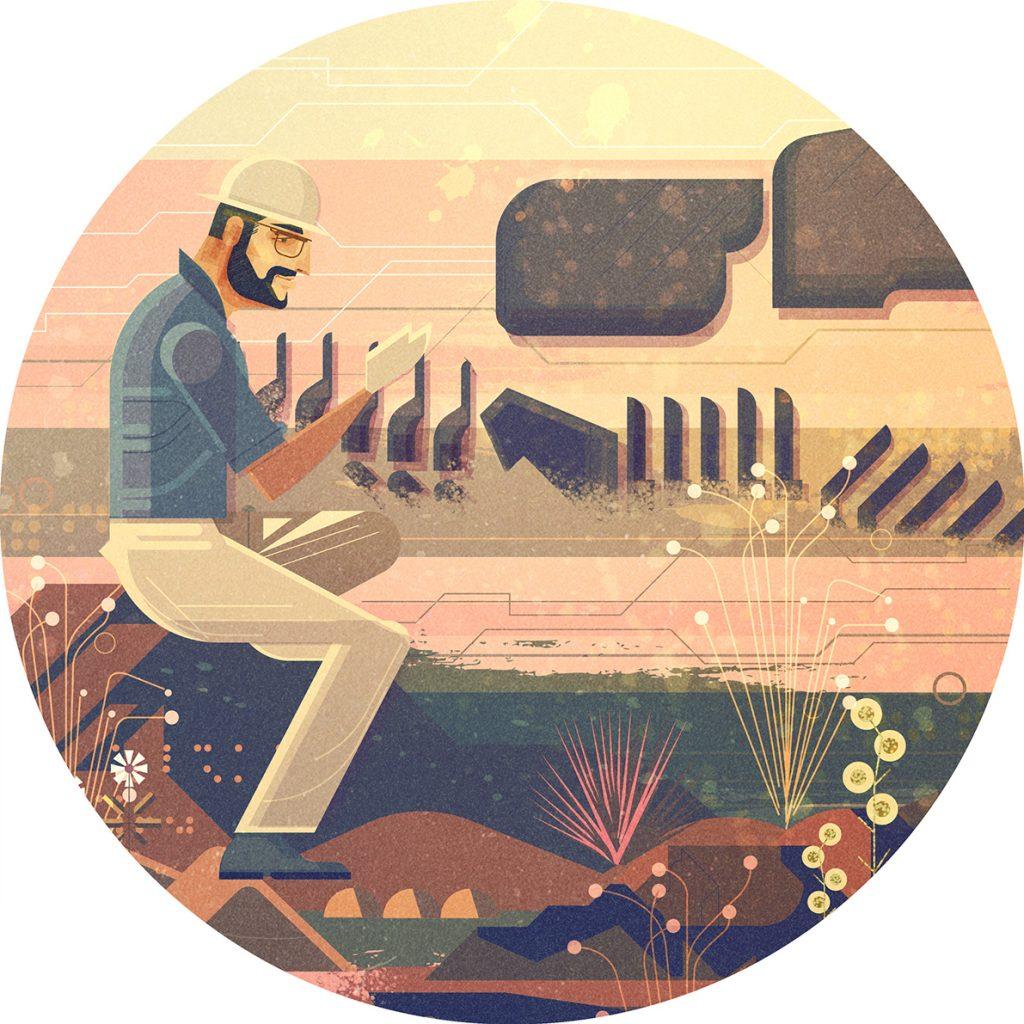 Ilustracion de James Gilleard para el Dinosaur Atlas