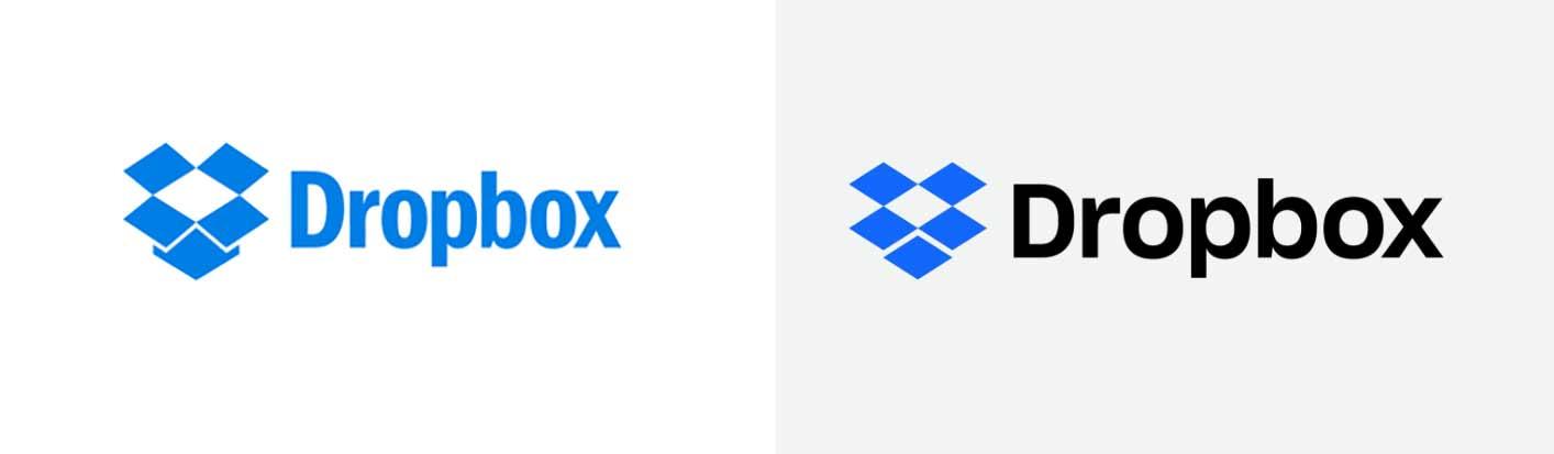 Antiguo y nuevo logo de Dropbox