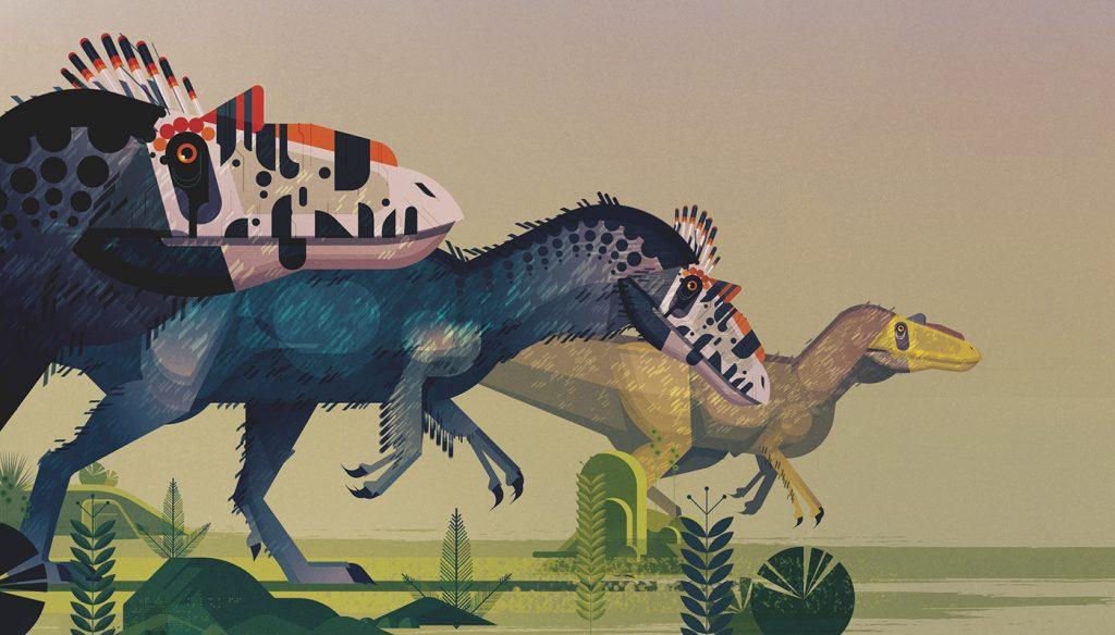 Ilustración de dinosaurios de James Gilleard