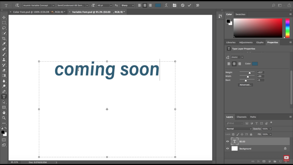 Adobe prevé incluir funciones de Variable Fonts en Photoshop