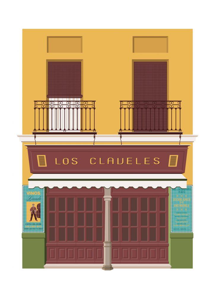 Ilustracion de la taberna Los Claveles, de Miguel Ferrera