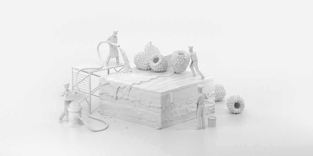 Proceso de elaboracion de una de las ilustraciones en 3D de Touch Slate Design
