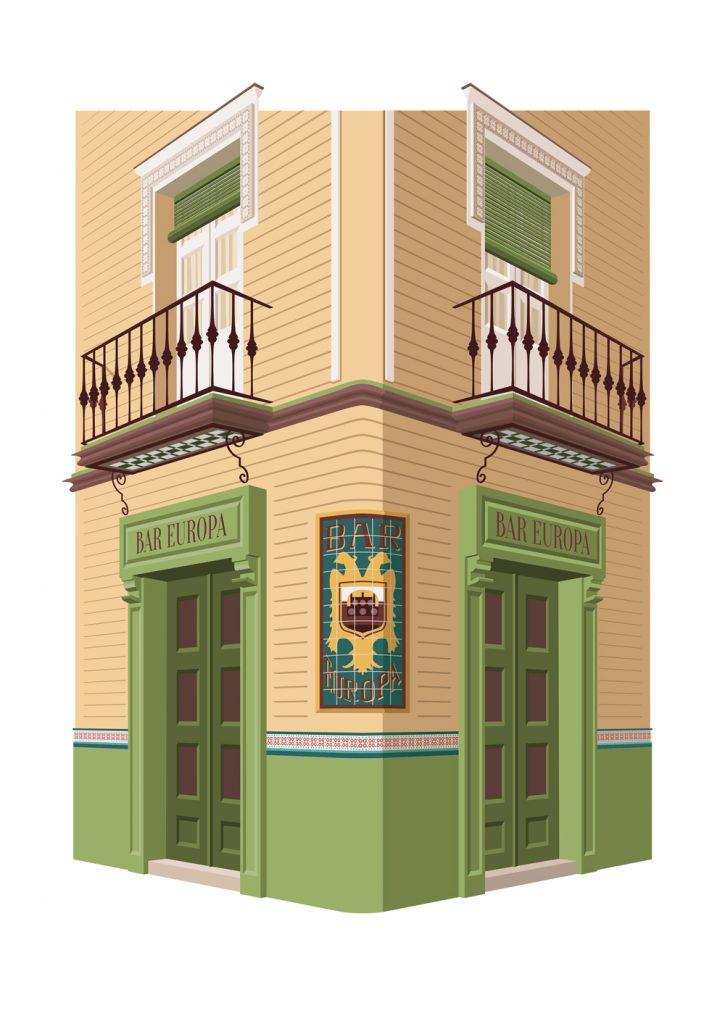 Ilustracion de Bar Europa, de Miguel Ferrera