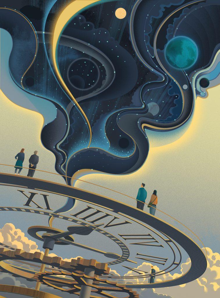 Ilustracion del set The Universe Fabric de Sam Chivers sobre la teoria de la relatividad de Einstein para el Día Mundial de la Ciencia para la Paz y el Desarrollo