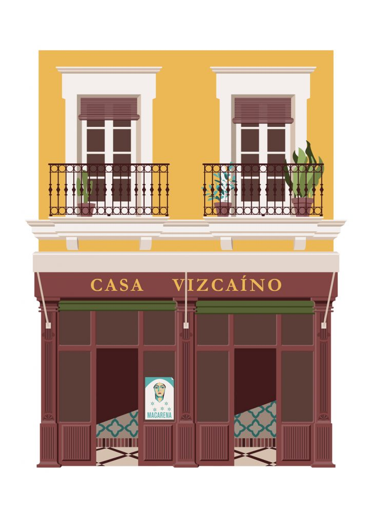 Ilustracion de la taberna Casa Vizcaino, de Miguel Ferrera