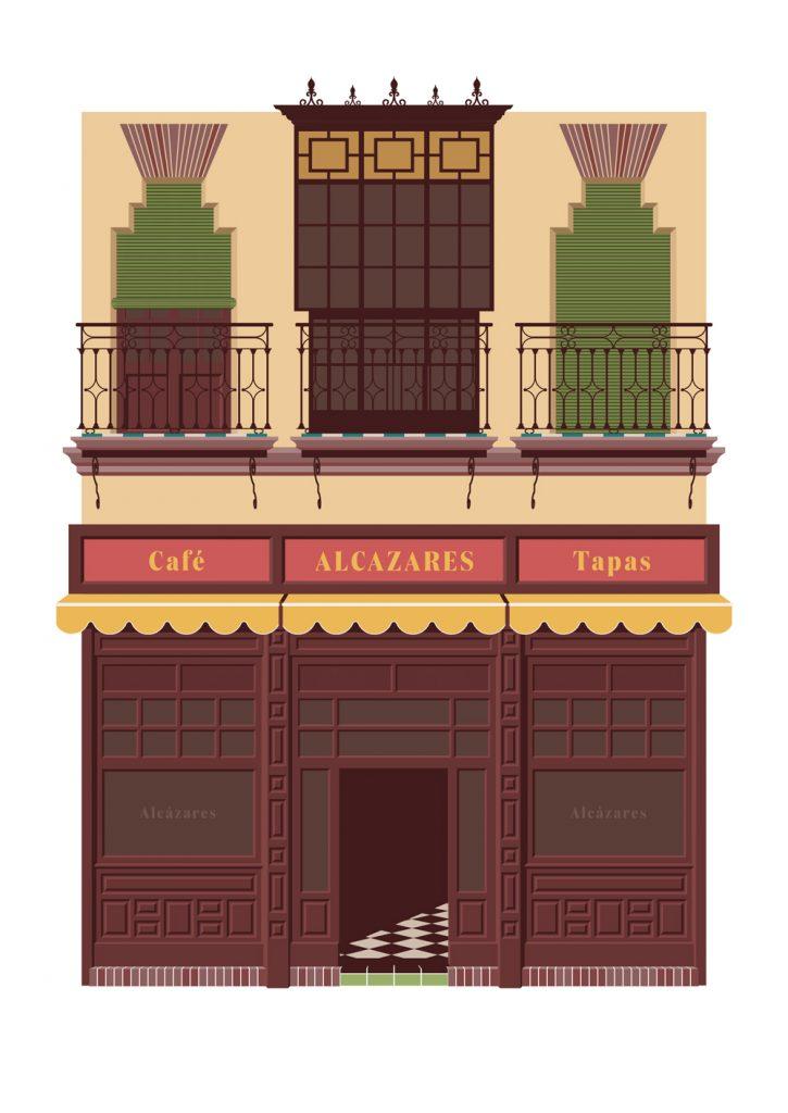 Ilustracion del bar Alcazares, hecha por Miguel Ferrera