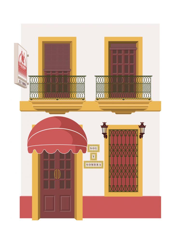 Ilustracion de la taberna Sol y sombra, por Miguel Ferrera
