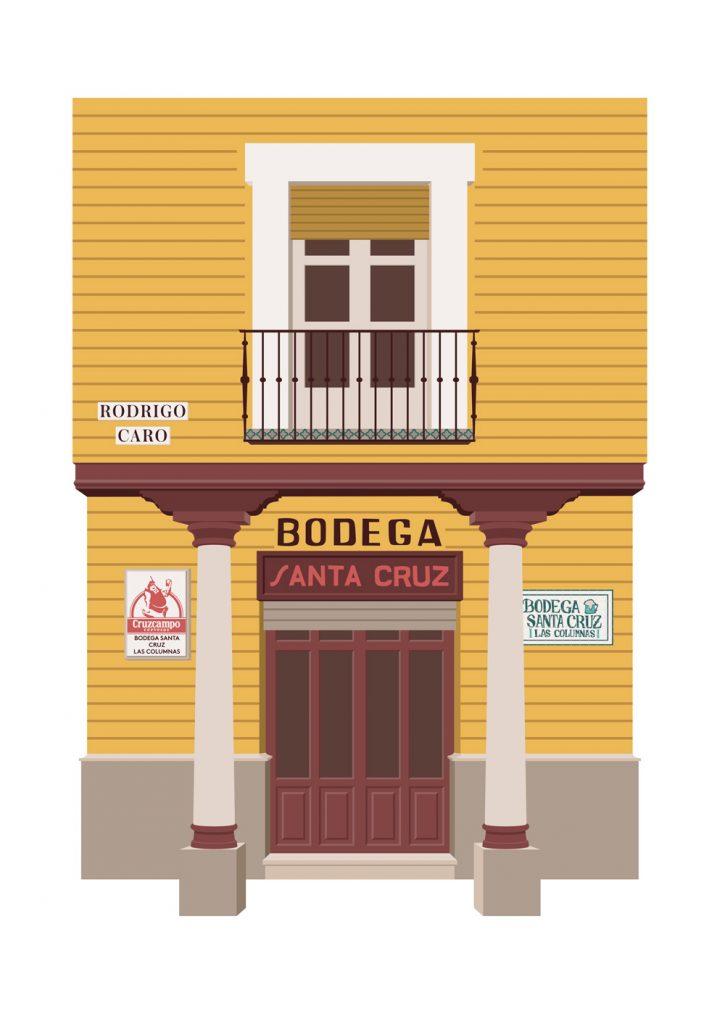 Ilustracion de la Bodega Santa Cruz, hecha por Miguel Ferrera