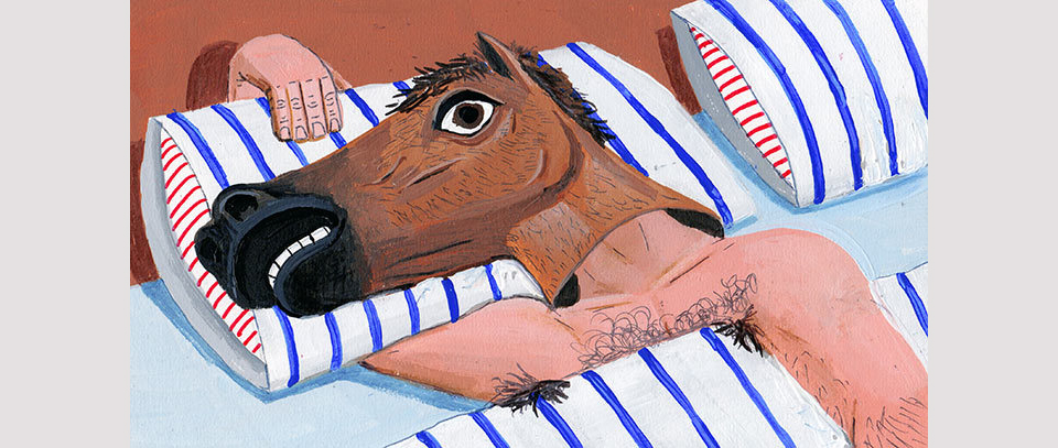 Ilustracion de un hombre con una cabeza de caballo, por Brandon Celi