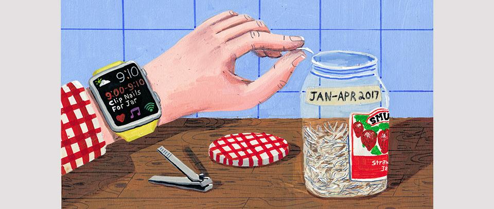 Ilustracion de un tarro de uñas, de Brandon Celi
