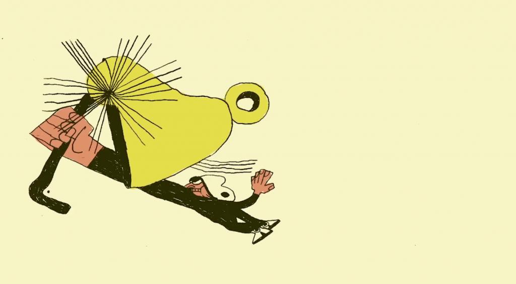 Un hombre tocando la campana en la animacion de Max Litvinov
