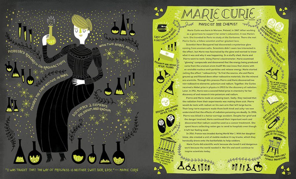 Marie Curie, una de las ilustraciones de Women in Science de Rachel Ignotofsky