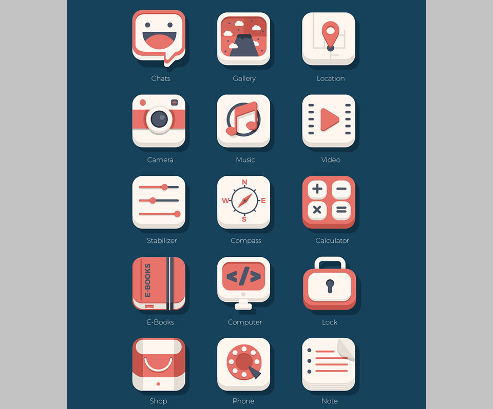 Los 21 Flat iOs Icon Set de Monstertele Studio