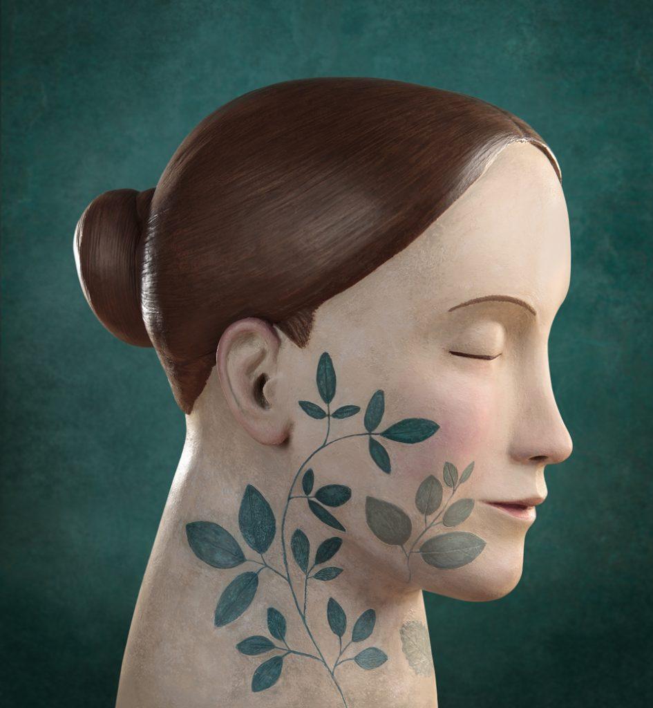 Ilustracion de una cabeza, por Irma Gruenholz