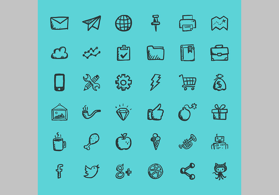 Los 36 Jolly Icons Free de Hand-Drawn Goods