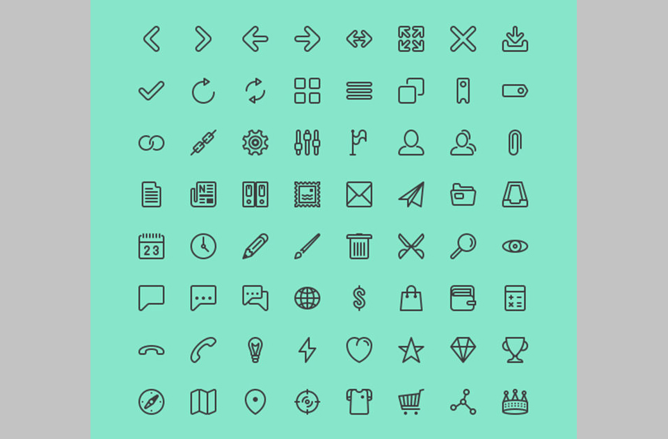 Los 124 Line Icon Set for UI & More de Situ Herrera