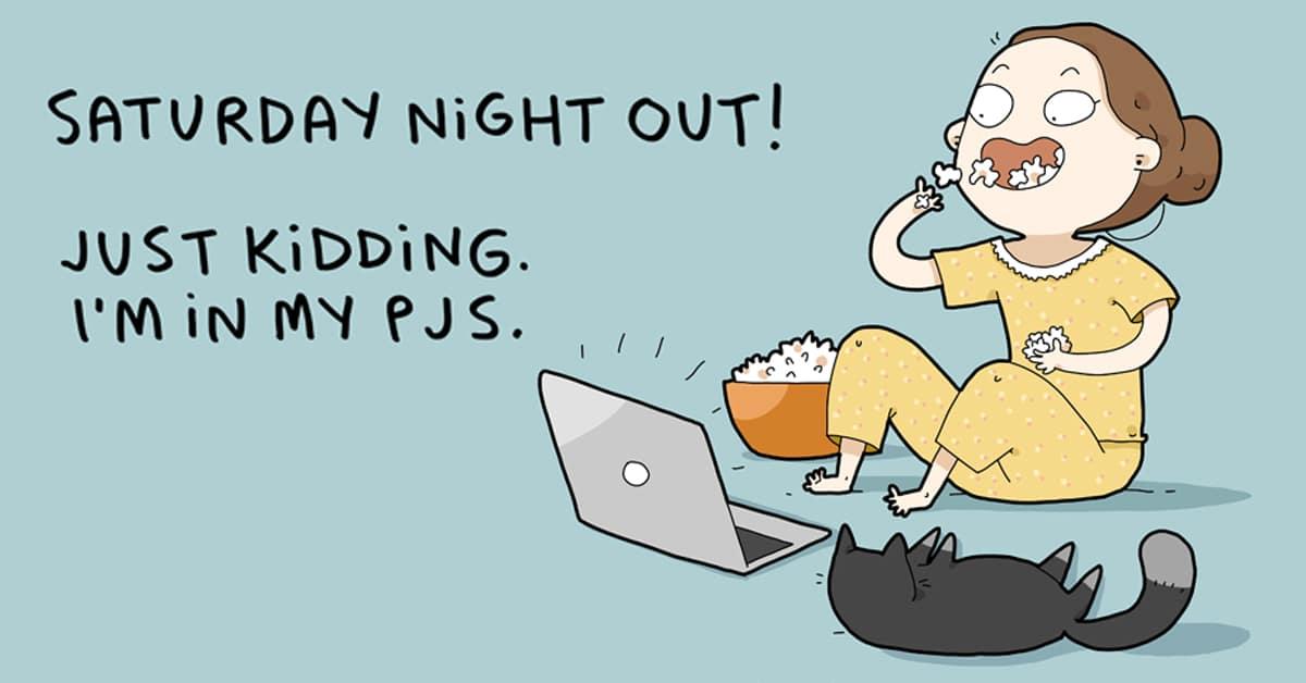 Ilustracion de una chica introvertida un sabado por la noche, de Lingvistov