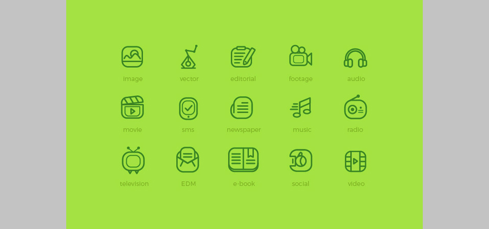 Los 20 Media Flat Outline Icons de HevnGrafix