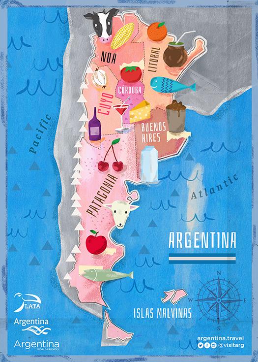 «Pasimedia es un estudio de diseño de argentinos en Londres, hice esta ilustración para un mapa de comidas de Argentina para un evento gourmet en Londres».