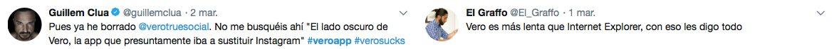 Tuits descontentos sobre Vero