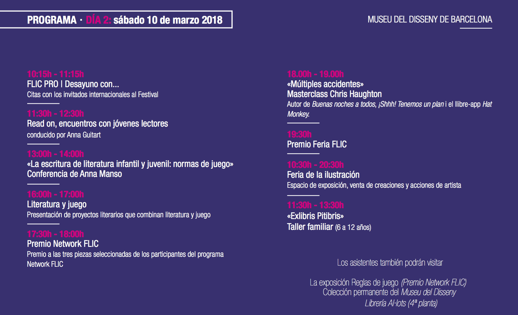 Programa del festival FLIC disenando literaturas