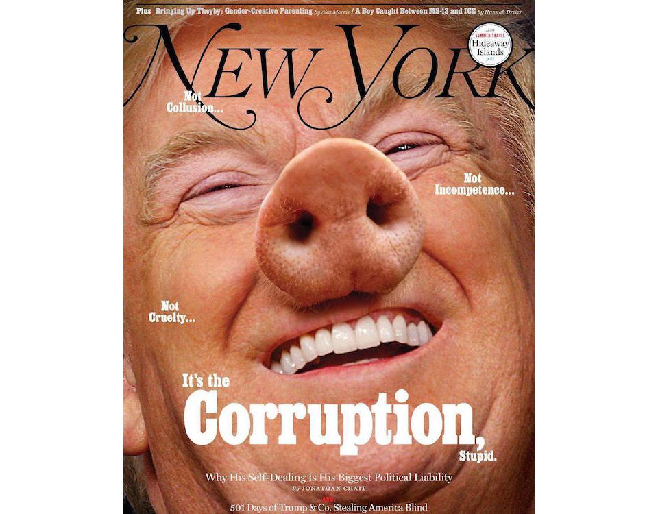 Donald Trump con nariz de cerdo en la portada de New York Magazine