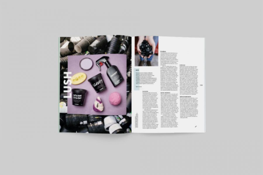 revista graffica 9 packaging Lush mockup fisico