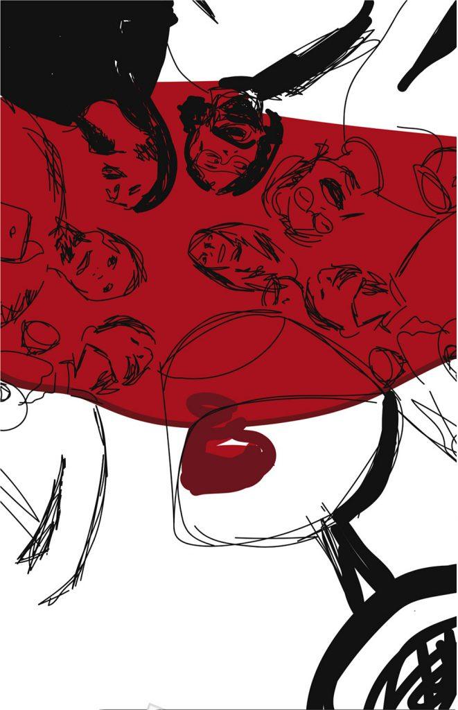 cartel perfectos desconocidos boceto vino mancha