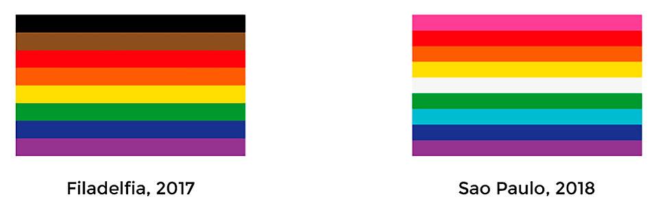 Ciudades como Filadelfia o Sao Paulo han izado banderas arcoíris con adaptaciones de diseño para comunicar diferentes mensajes en sus celebraciones del orgullo.