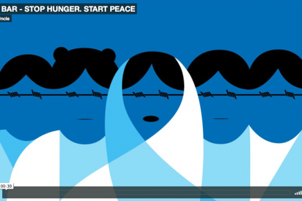 'Stop Hunger. Start Peace', por Noma Bar