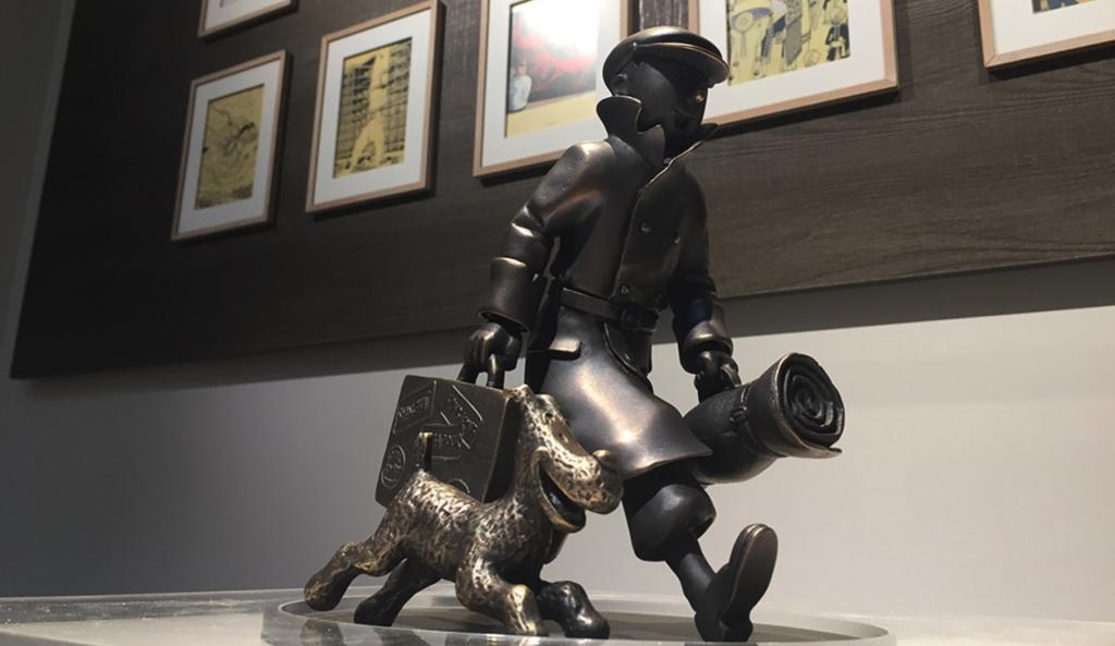Escultura de Tintín y Milú