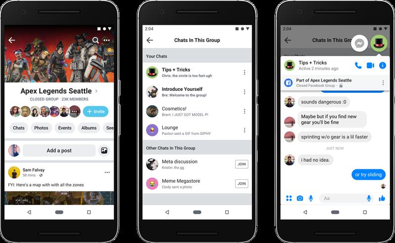 Grupos de Facebook en la app