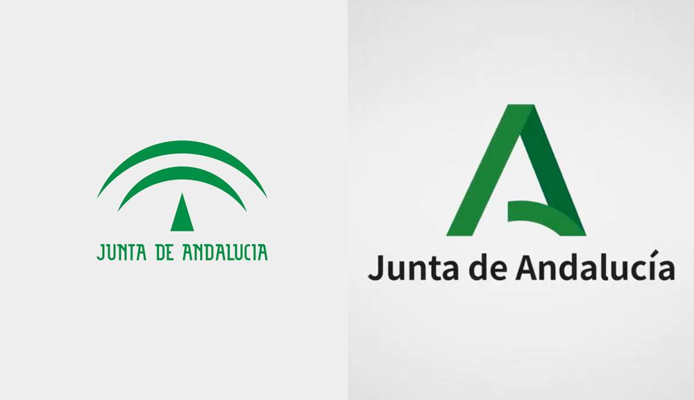 quien ha creado el nuevo logo de la Junta de Andalucía. Antes y después.