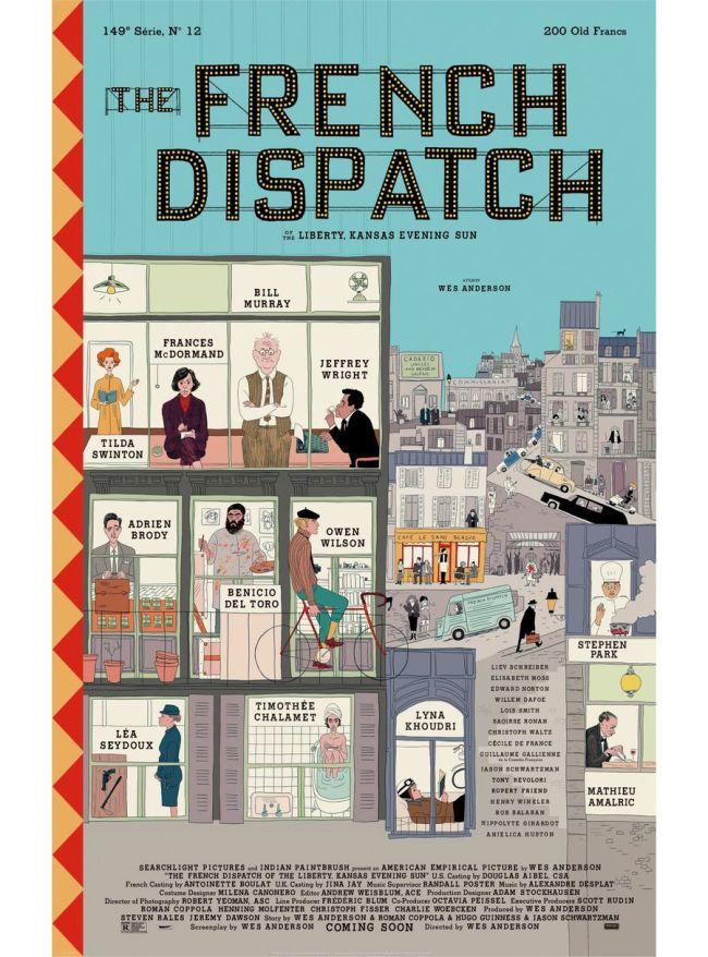 Este es el cartel y el tráiler de la nueva película de Wes Anderson: The French Dispatch - cartel