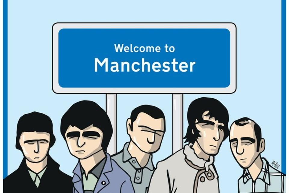 Poster para 'Chasing The Sun' de Oasis, ilustrado por Pete McKee